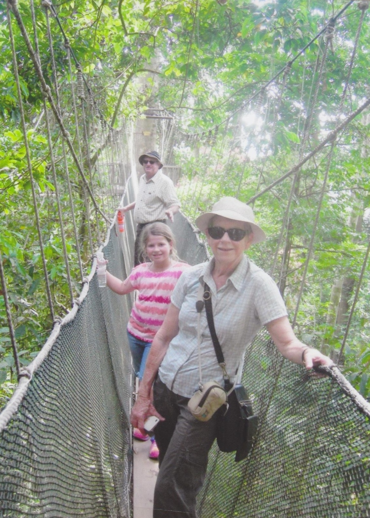 Margaret, Ian and granddaughter Emily on a suspension bridge in????